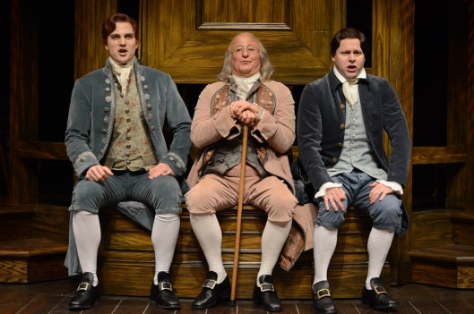 (left to right) Keith Hines as Thomas Jefferson, Steve Vinovich as Ben Franklin and George Merrick as John Adams.Photo courtesy of Pittsburgh Public Theater