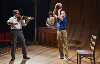 Charles Ives Take Me Home featuring Drew McVety (John Starr), James FitzGerald (Charles Ives), and Tressa Glover (Coach Laura Starr). Photo by Kristi Jan Hoover.