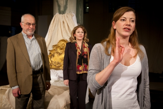 L to R: Larry John Meyers, Helena Ruoti, Melinda Helfrich; photo by Heather Mull, Courtesy Quantum Theatre