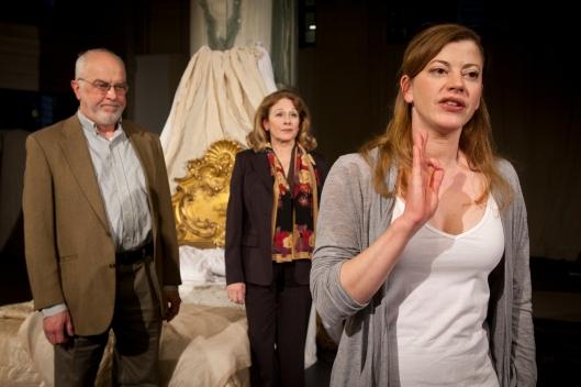 L to R: Larry John Meyers, Helena Ruoti, Melinda Helfrich; photo by Heather Mull, Courtesy Quantum Theatre