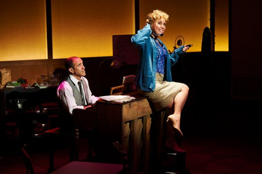Jonathan Brody (as studio side man Bernie Leighton) and Andréa Burns (Judy Holliday); photo courtesy City Theatre