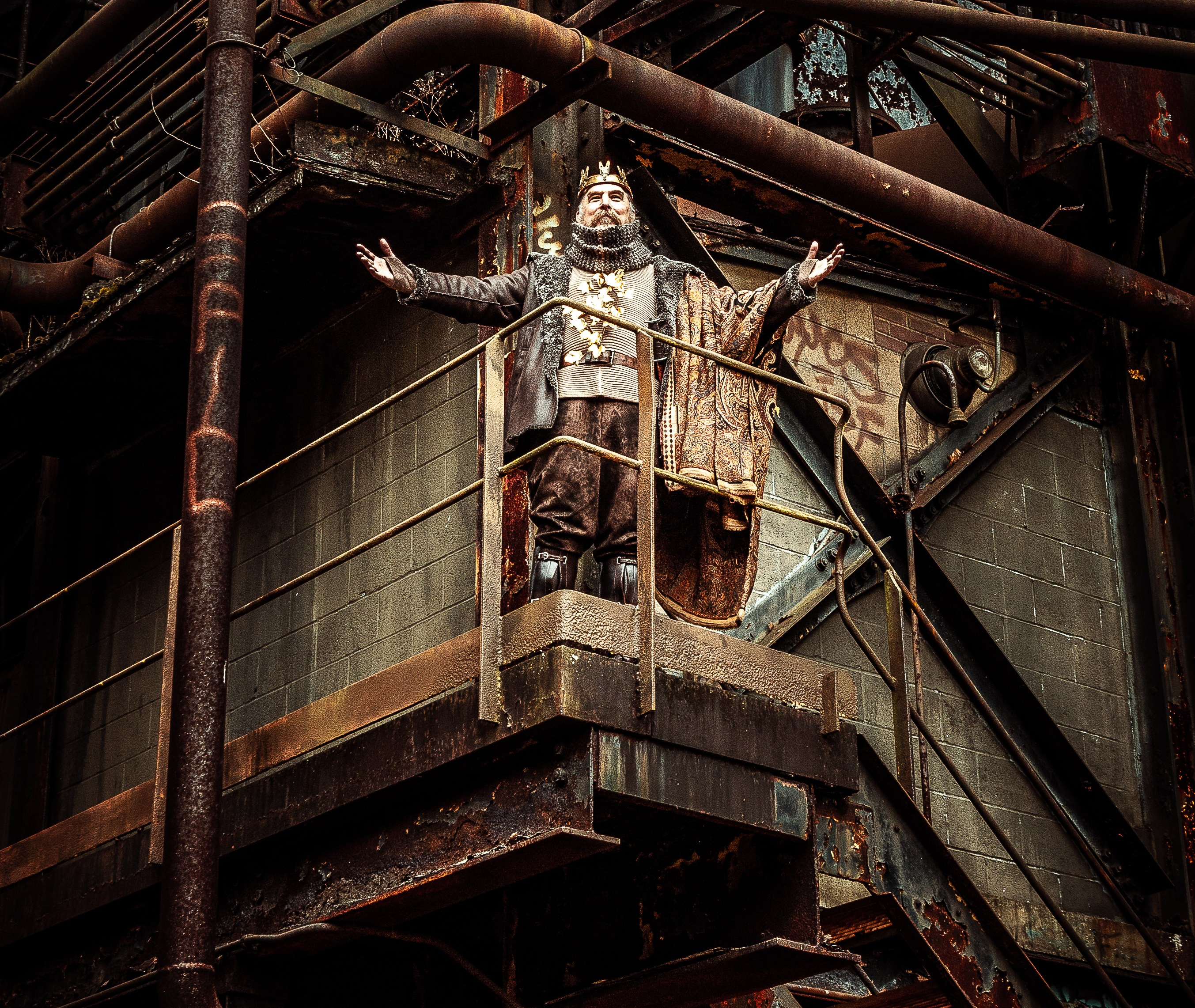 """Quantum """"King Lear"""" pre-production photos at Carrie Furnace site."""